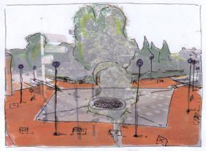 Gedeelde plein centrum-winkelgebied idee
