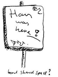 Cartoon bord: Hans (Monderman) was here!