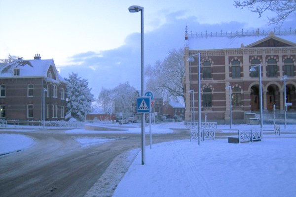 Rotonde in de sneeuw