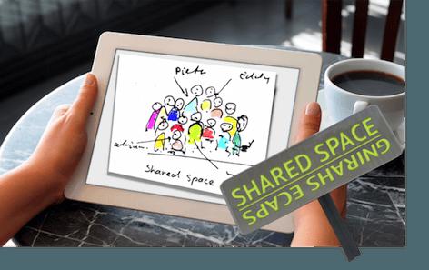 Shares Space op tablet van Leon Lurvnk