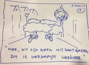 Cartoon: Nee, dit zijn geen uitlaatgassen, dit is verdampt verkeer!